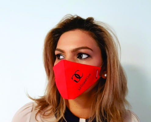 lady wearing face mask printed disposable