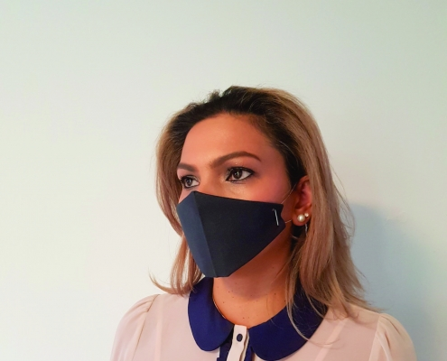lady wearing face mask black disposable