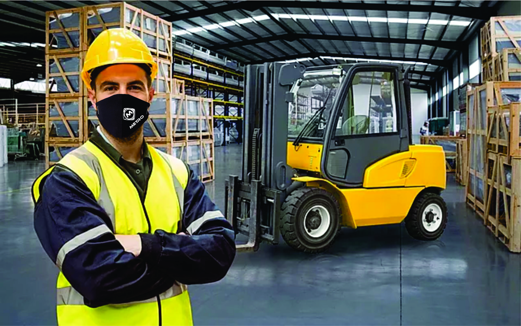 worker wearing face mask printed disposable